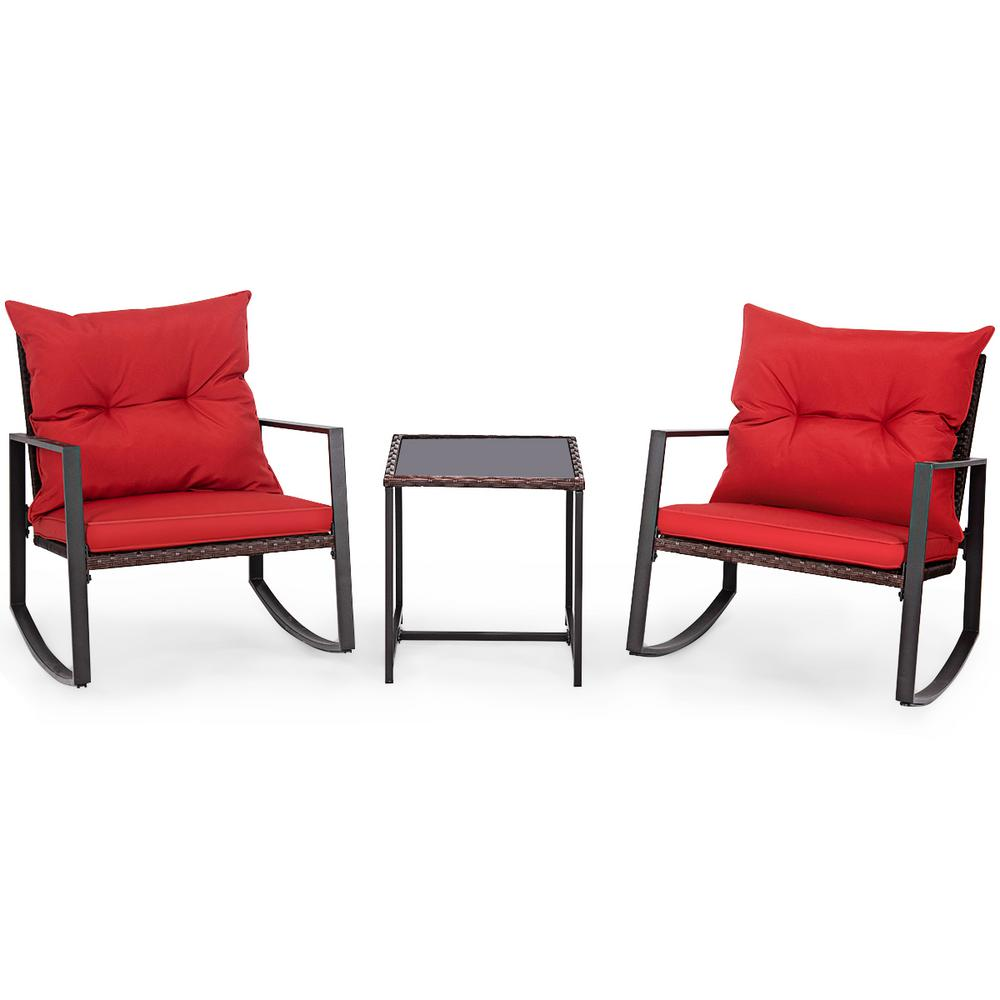 Costway 3-Piece Wicker Patio Conversation Set Bistro Furniture Set 2 Rocking Chairs, Glass Side Table with Red Cushions