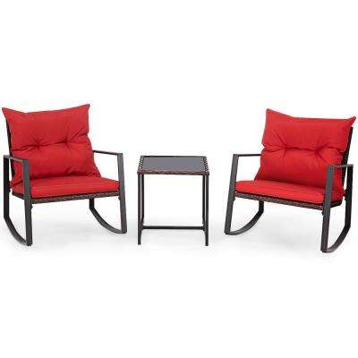 3-Piece Wicker Patio Conversation Set Bistro Furniture Set 2 Rocking Chairs, Glass Side Table with Red Cushions