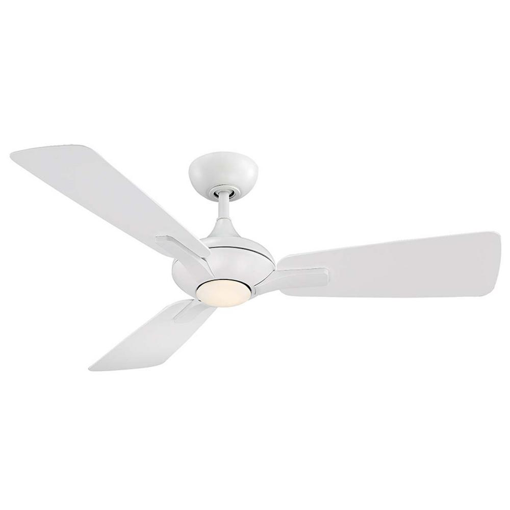 Modern Forms Mykonos 52 in. LED Indoor/Outdoor Matte White 3-Blade Smart Ceiling Fan with 3000K Light Kit and Wall Control