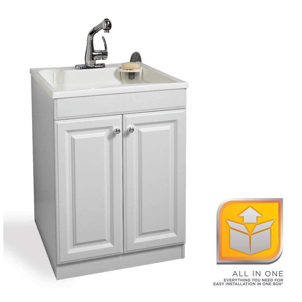 Glacier Bay All-in-One 24 in. x 24.5 in. x 34.5  sc 1 st  The Home Depot : utility sink cabinet home depot - Cheerinfomania.Com