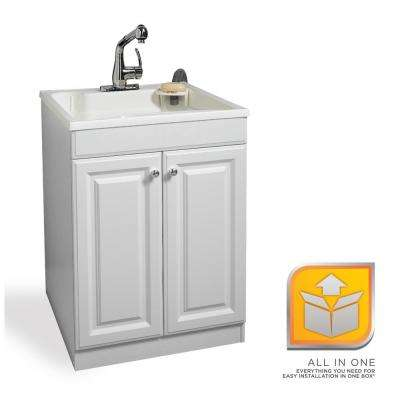 All-in-One 24 in. x 24.2 in. Plastic Laundry Sink and Wood Cabinet in White, with Non-Metallic Pull-Out Faucet in Chrome