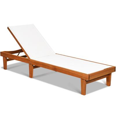 Natural Adjustable Height Eucalyptus Wood Outdoor Lounge Chair Chaise Recliner with White Cushion