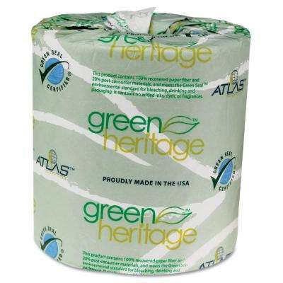 Green Heritage 4.4 in. x 3.5 in. 2-Ply Professional Toilet Tissue (500/Roll, 96 Rolls/Carton)