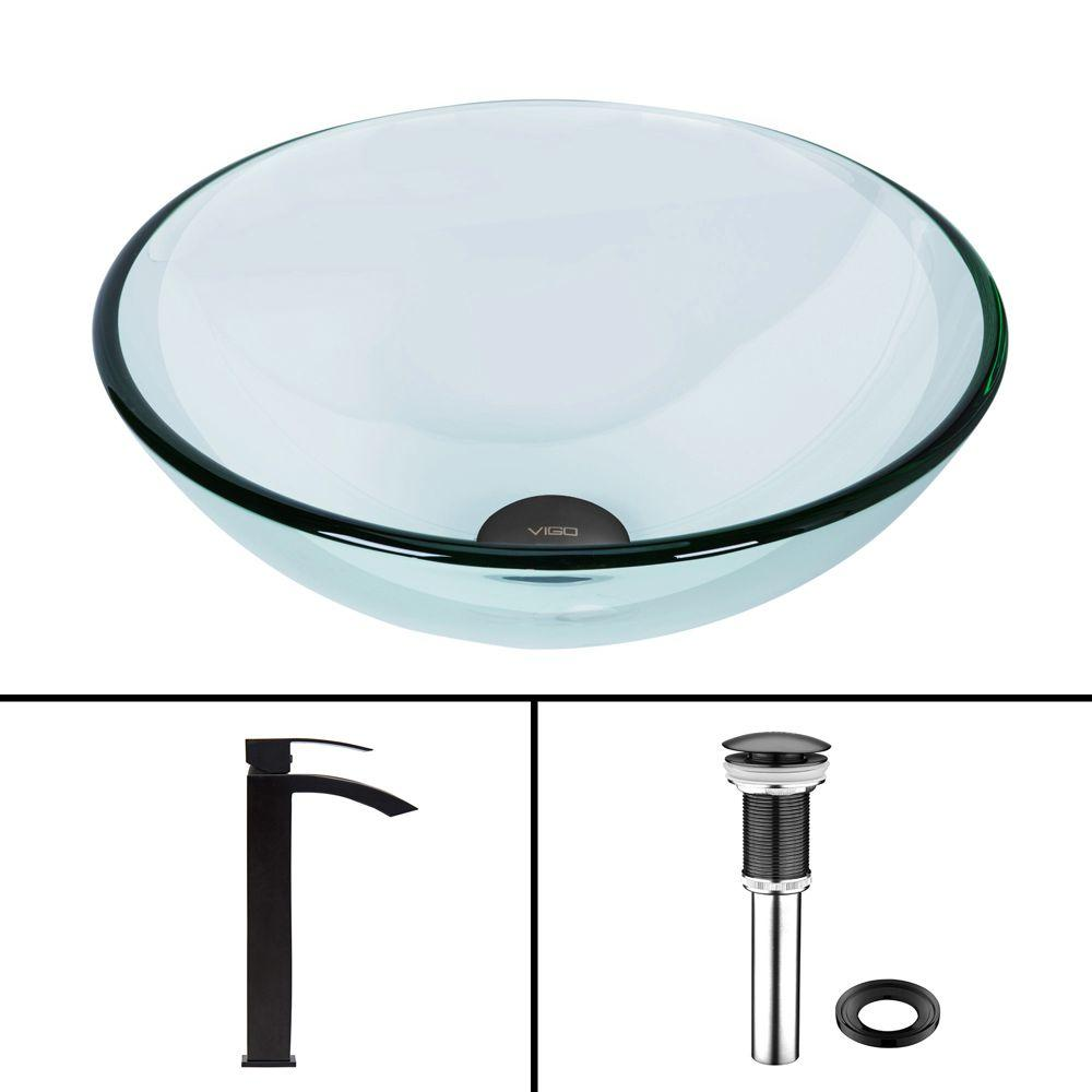 VIGO Glass Vessel Bathroom Sink in Clear Crystalline and Duris Vessel Faucet Set in Matte Black