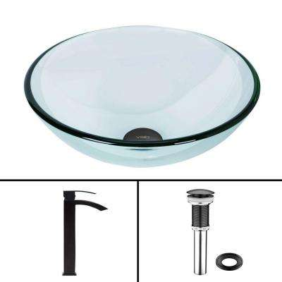 Glass Vessel Bathroom Sink in Clear Crystalline and Duris Vessel Faucet Set in Matte Black
