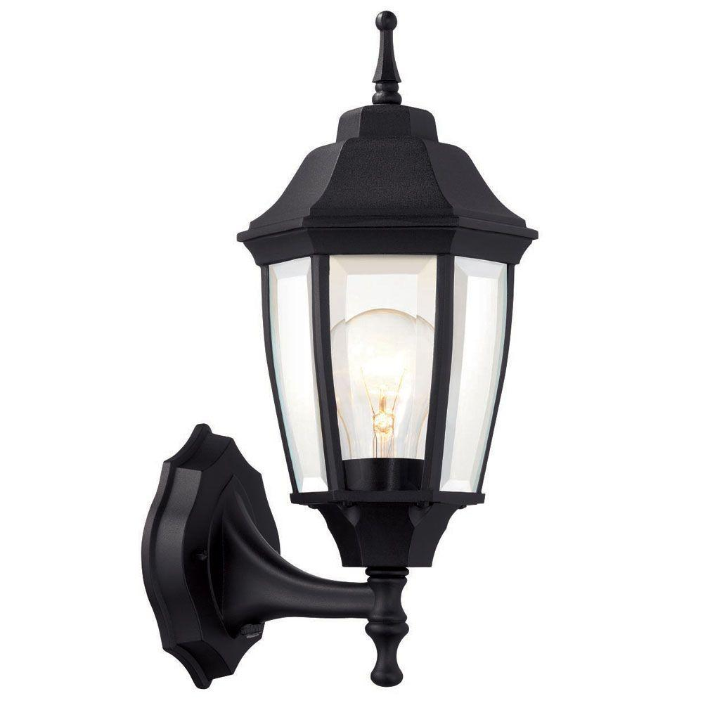 hampton bay 1 light black dusk to dawn outdoor wall lantern bpp1611
