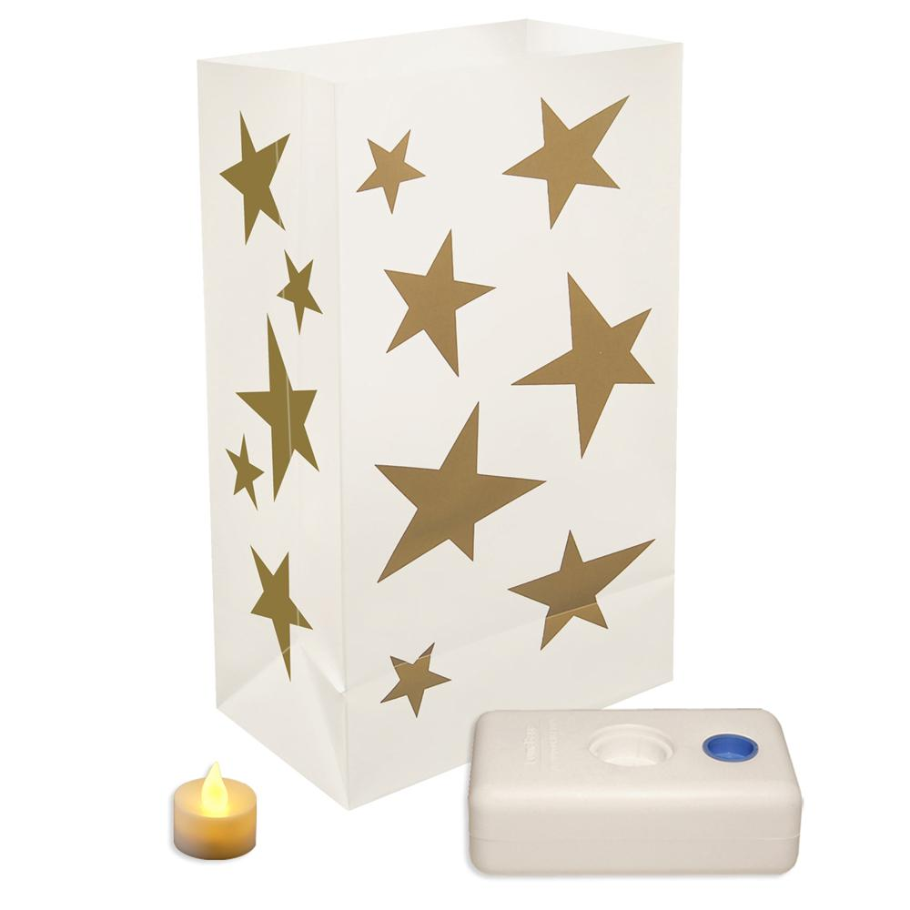 Gold Stars Led Luminaria Kit Set Of 12