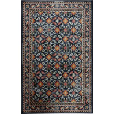 Mohawk Home Rosested Navy 10 ft. x 14 ft. Ornamental Area Rug, Blue