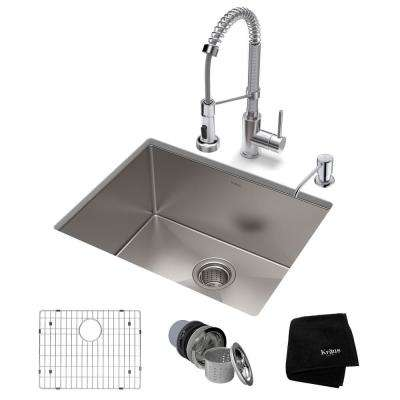 Standart PRO All-in-One Undermount Stainless Steel 23 in. Single Bowl Kitchen Sink with Faucet in Chrome