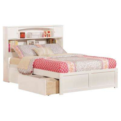 Newport White Full Platform Bed with Flat Panel Foot Board and 2-Urban Bed Drawers