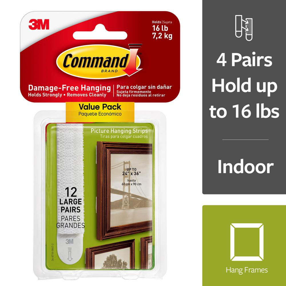 Command Large White Picture Hanging Adhesive Strips 12