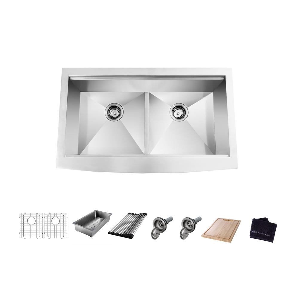 Glacier Bay All-in-One Apron-Front Farmhouse Stainless Steel 36 in. 50/50 Double Bowl Workstation Sink with Accessory Kit