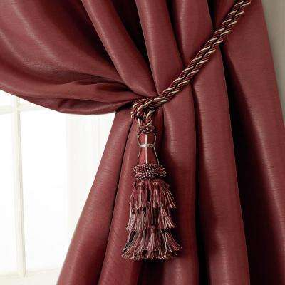 Charlotte 24 in. Tassel Tieback Rope Cord Window Curtain Accessories in Red