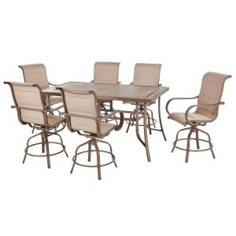 Sun Valley 7-Piece Aluminum Outdoor Patio Bar Height Dining Set with Sunbrella Sling