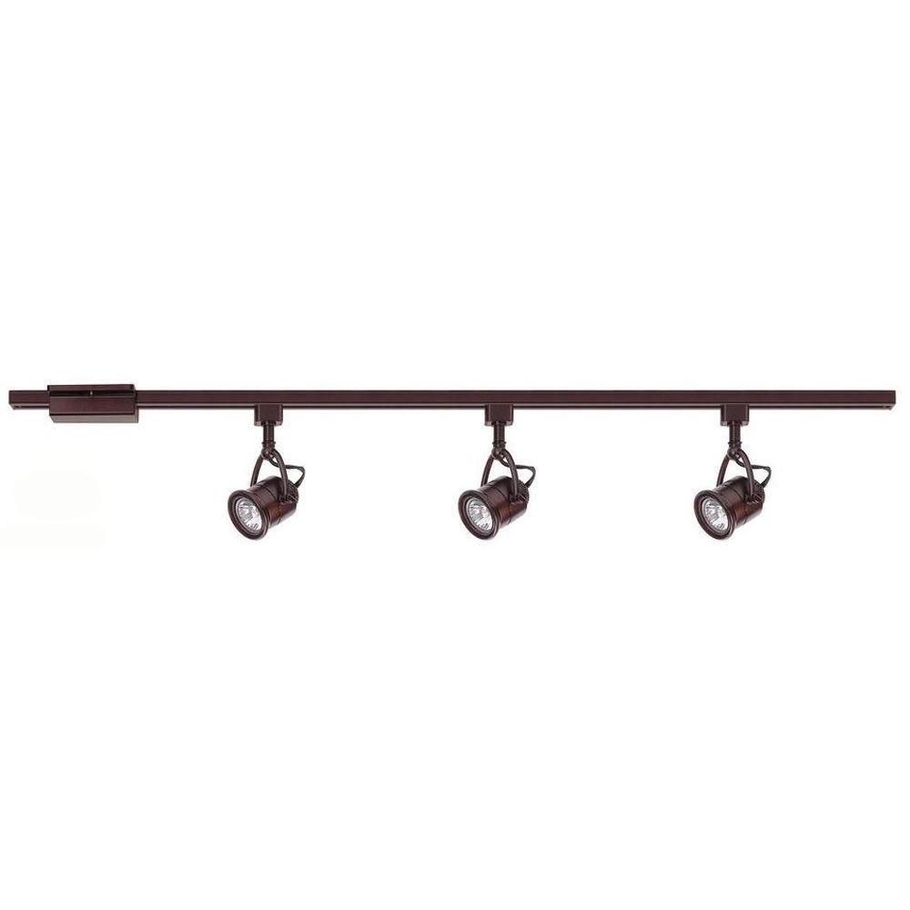 Hampton Bay 3 Light Antique Bronze Linear Track Lighting Kit Ec8715abz The Home Depot