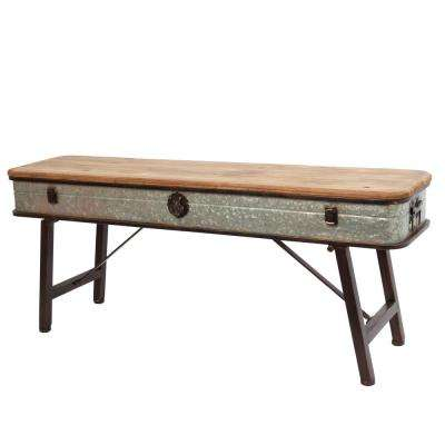 41.25 in. Metal and Wood Antique Plant Stand with Latch Accent