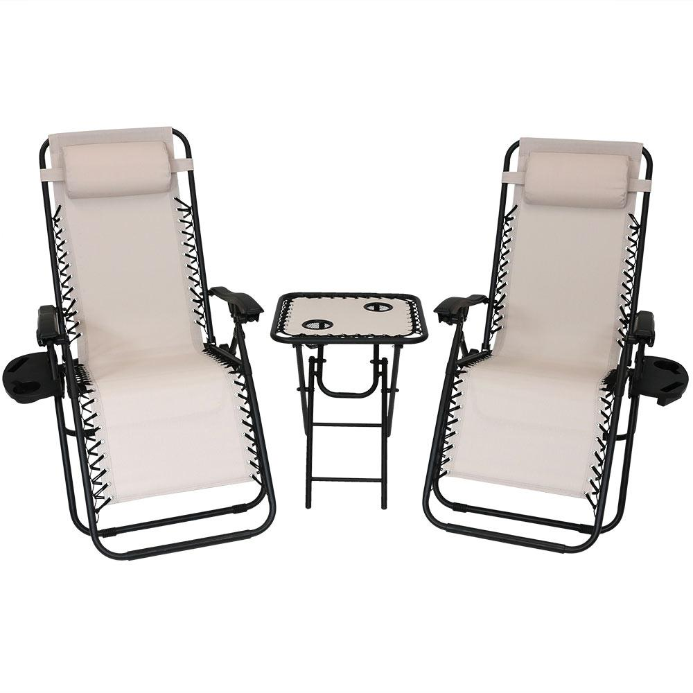 Zero Gravity Beige Sling Beach Chairs With Side Table Set Of