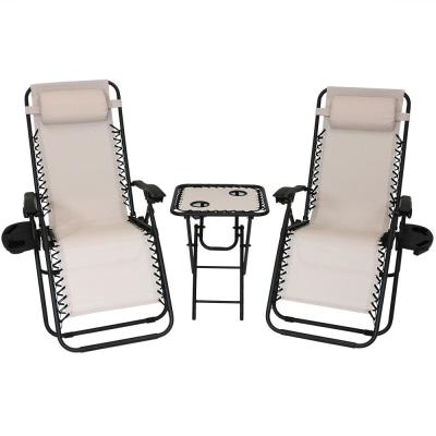 Zero Gravity Beige Sling Beach Chairs with Side Table (Set of 2)