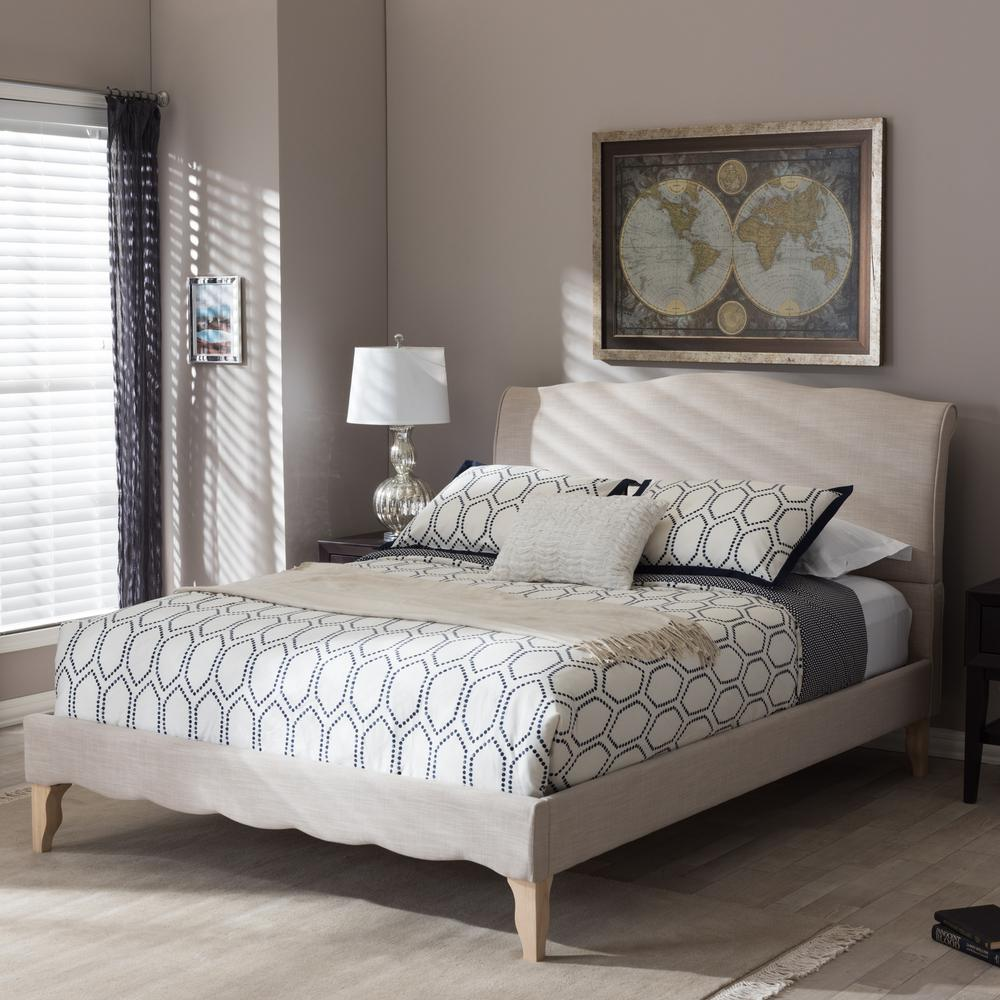 Baxton Studio Fannie Beige King Upholstered Bed 28862 7013