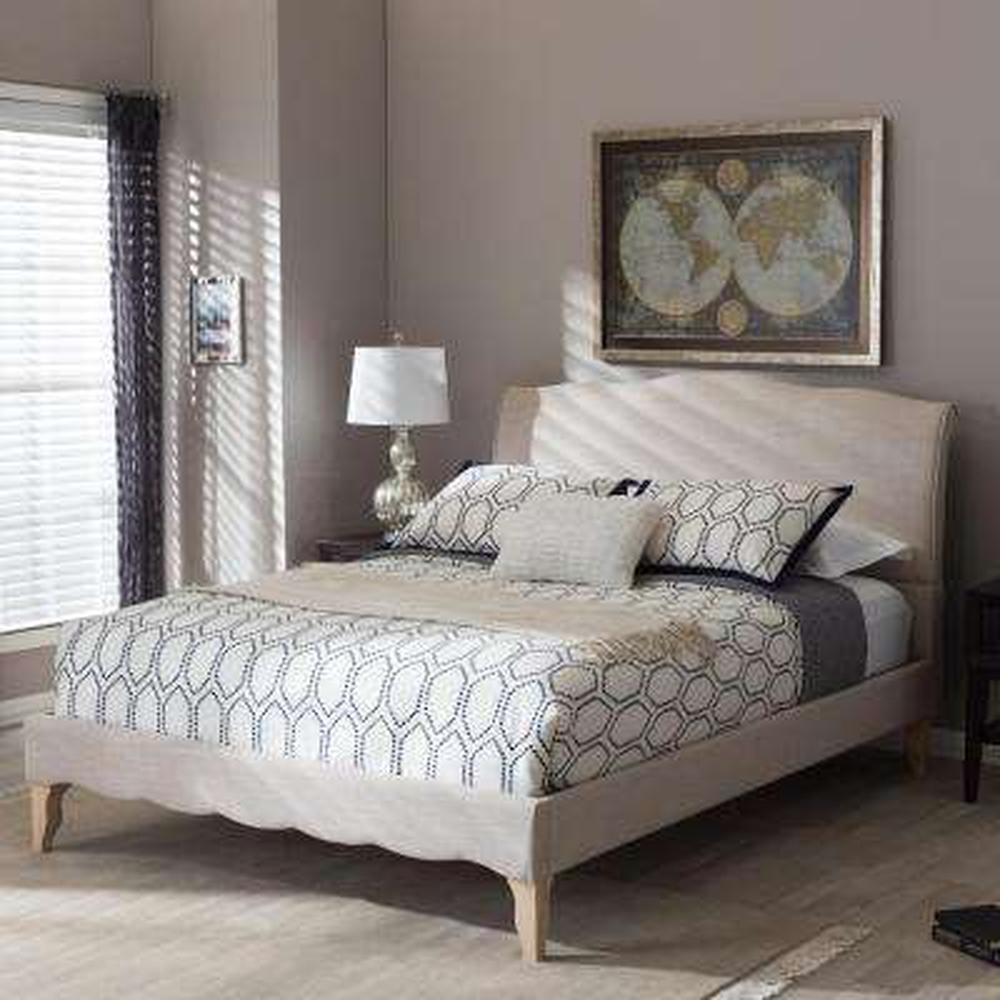 Fannie Beige King Upholstered Bed