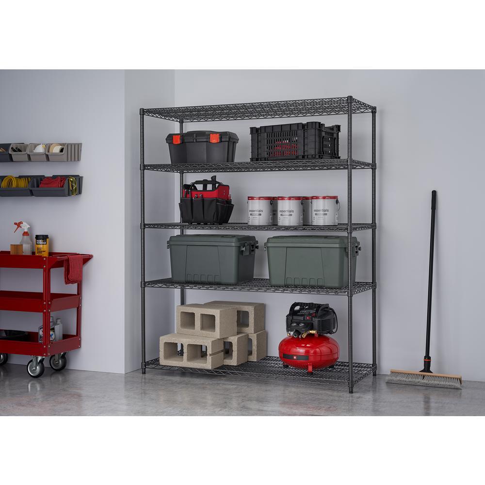 PRO 5-Tier Steel Garage Storage Shelving Unit in Black (60 in. W x 72 in. H x 24 in. D)