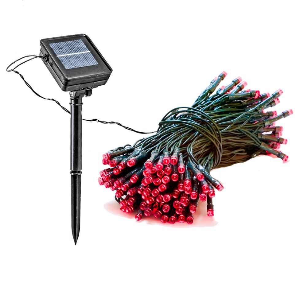 Outdoor Holiday String Lights : Reusable Revolution 150 Light 55 ft. Solar Powered Integrated LED Red Christmas Outdoor String ...