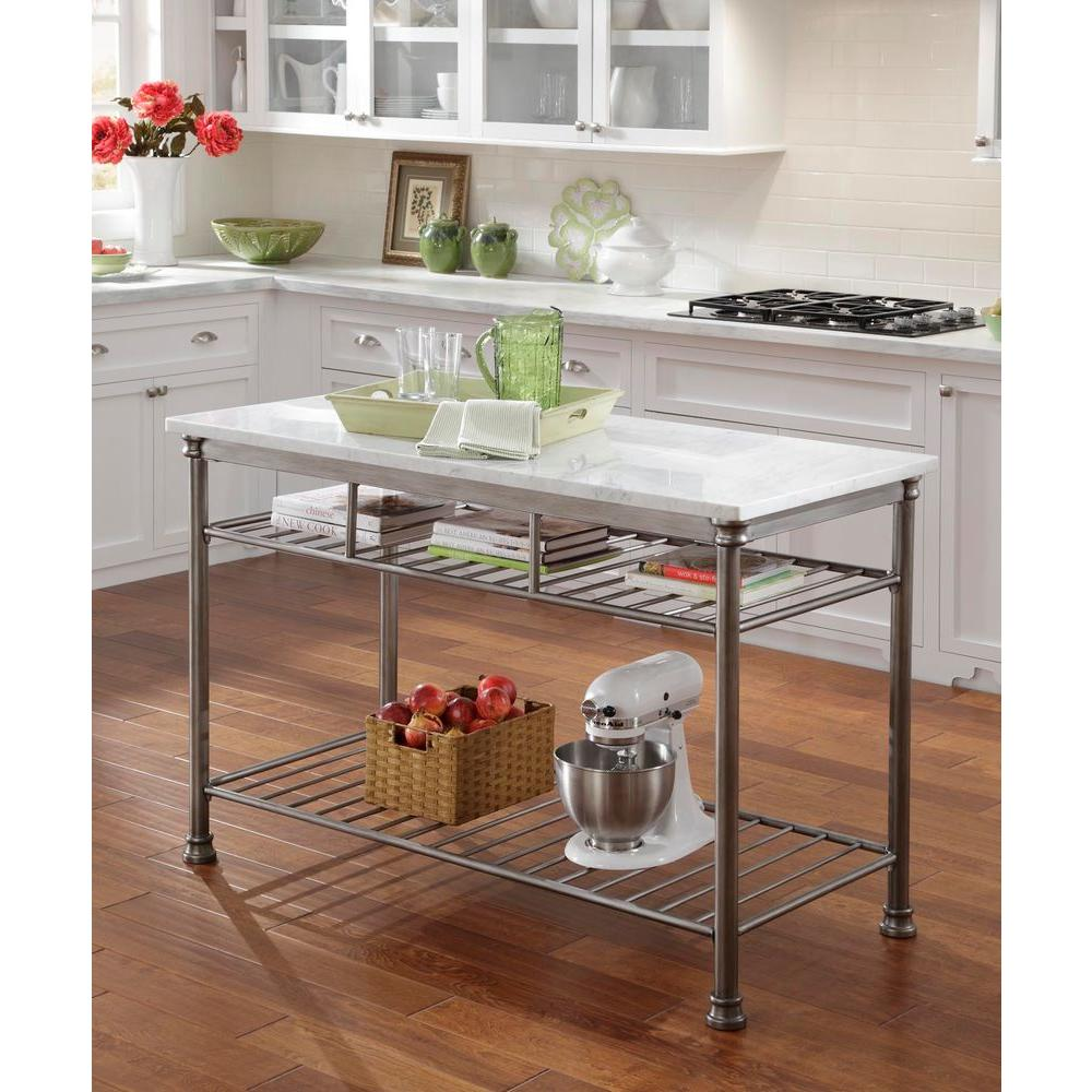 Home Styles Orleans Gray Kitchen Utility Table