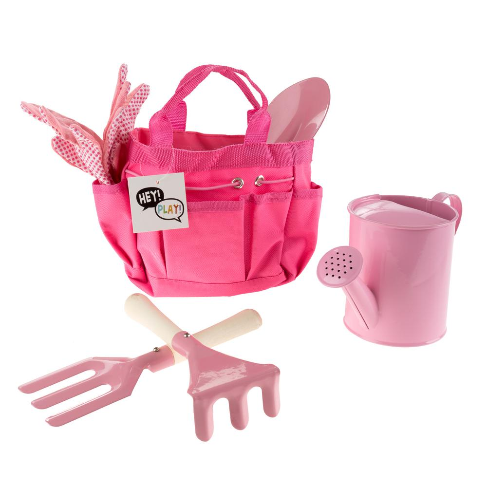 Hey! Play! Kids Pink Gardening Tool Set with Canvas Bag
