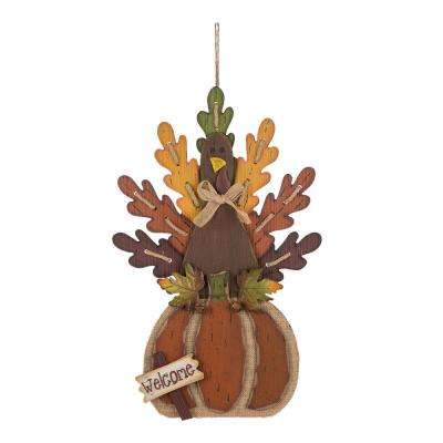 24.02 in. H Burlap/Wooden Turkey Decor