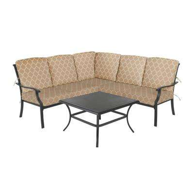 Redwood Valley Black 4-Piece Steel Outdoor Patio Sectional Sofa Set with CushionGuard Toffee Trellis Tan Cushions