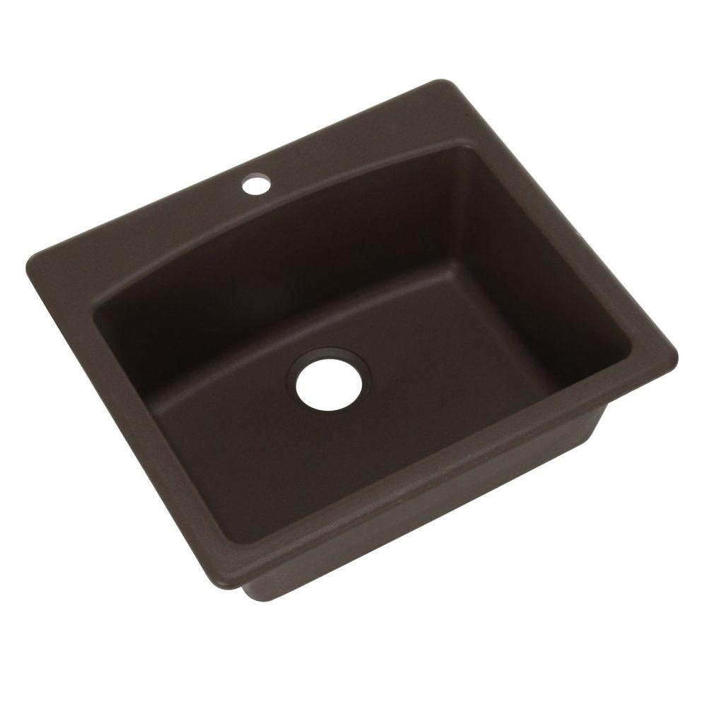 Franke Dual Mount Composite Granite 25 In 1 Hole Single Bowl Kitchen Sink In Mocha Esdb25229 1