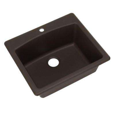 Dual Mount Composite Granite 25.in 1-Hole Single Bowl Kitchen Sink in Mocha