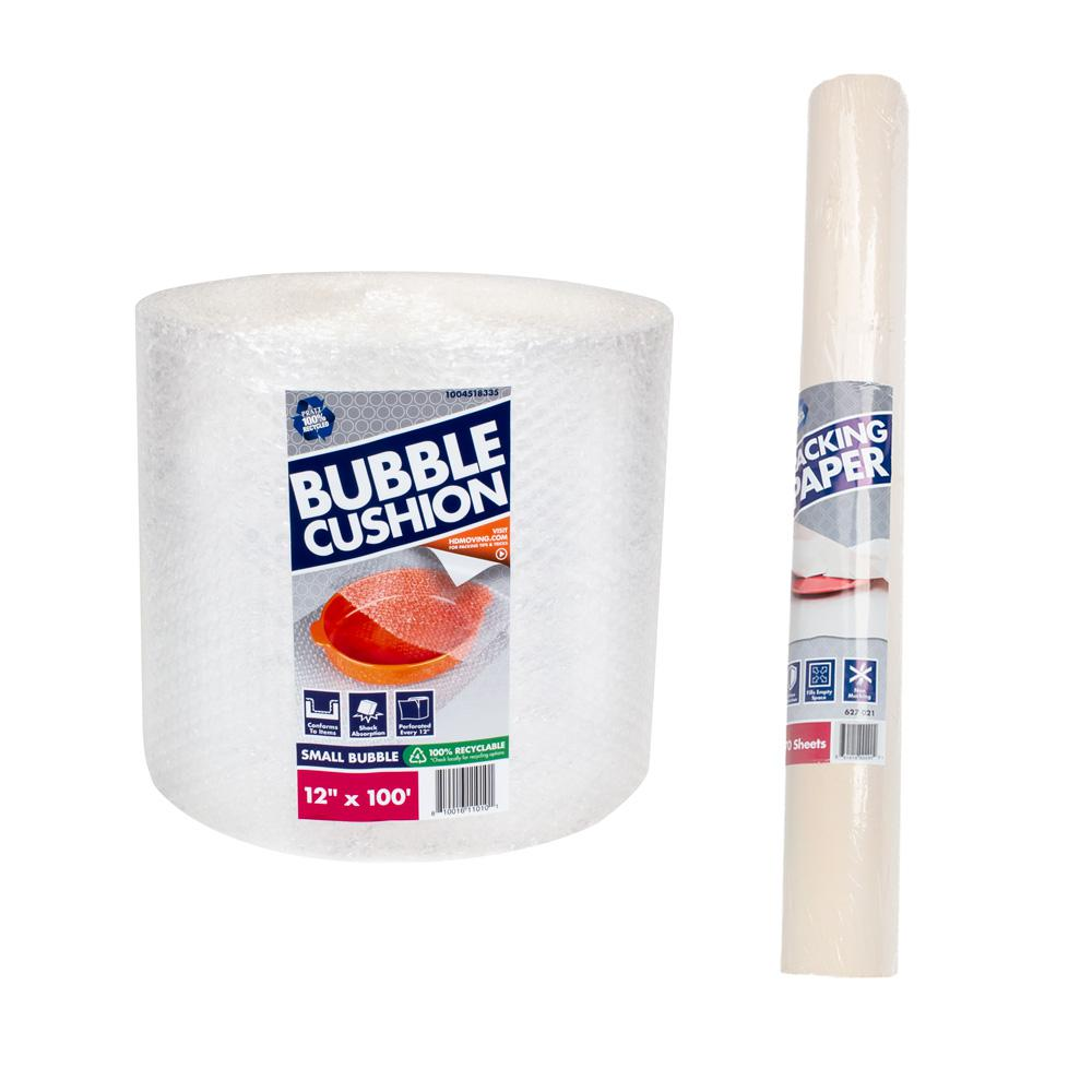 Pratt Retail Specialties 3/16 in. x 12 in. x 100 ft. Bubble Plus 24 in x 24 in Packing Paper (200-Sheets) Combo