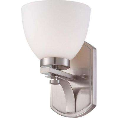 Elektra 1-Light Brushed Nickel Bath Vanity Light with Frosted Glass