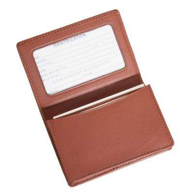 Genuine Leather Business Card Case Wallet, Tan