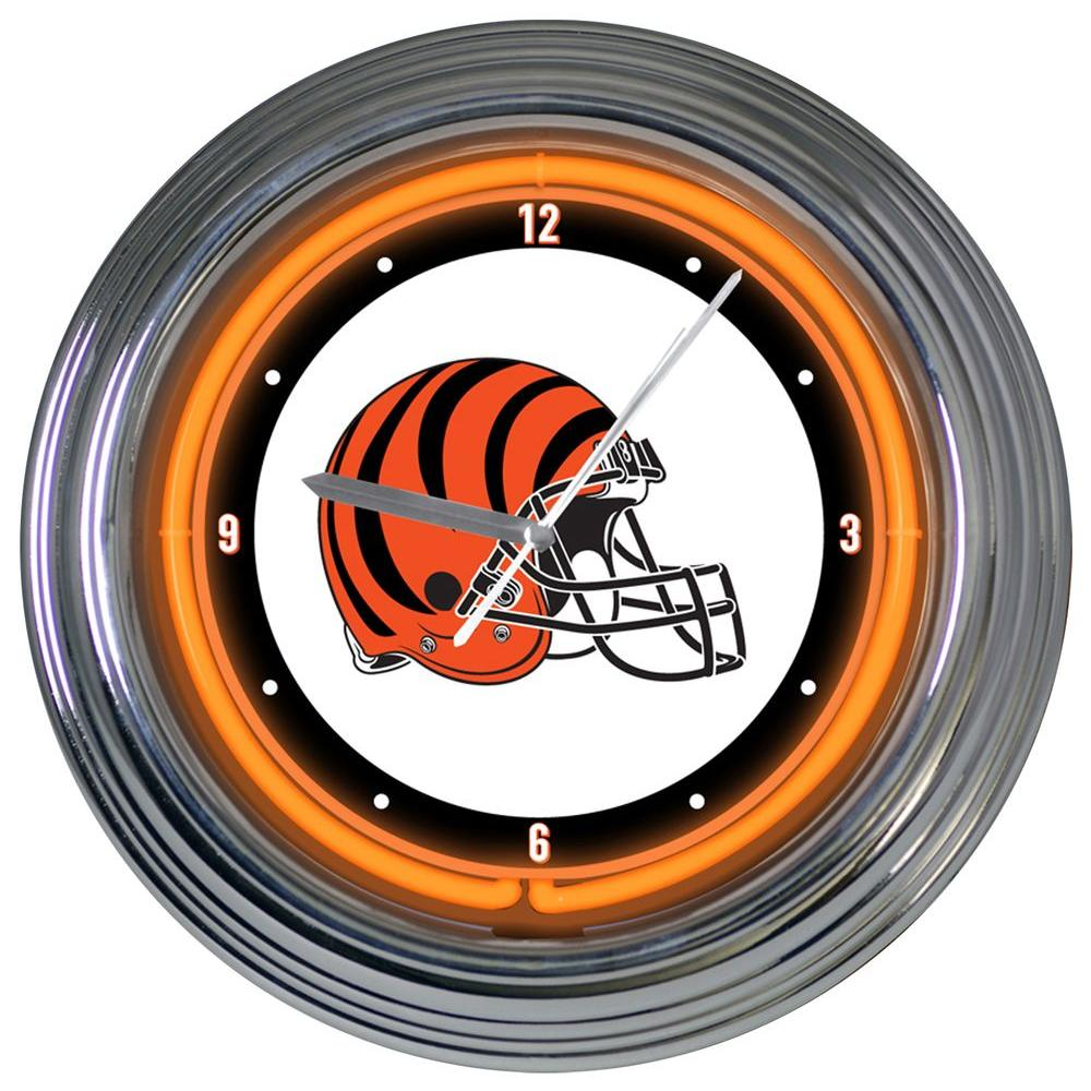 The Memory Company 15 in. NFL License Cincinnati Bengals Neon Wall Clock-DISCONTINUED