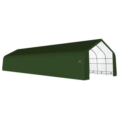 20 ft. W x 32 ft. D x 13 ft. H Galvanized Steel and PVC Garage Without Floor in Green with Heavy-Duty Green Cover