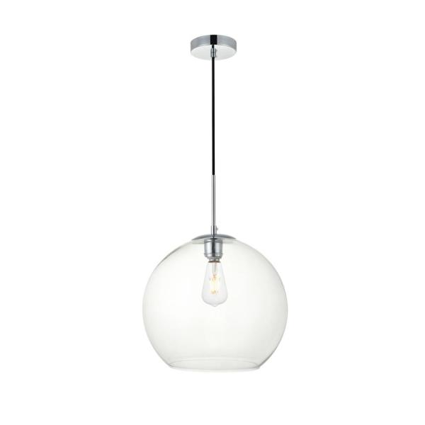 Timeless Home Blake 1-Light Chrome Pendant with Clear Glass Shade