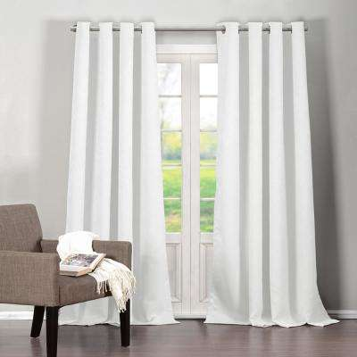 Quincy 36 in. x 84 in. L Polyester Blackout Curtain Panel in White (2-Pack)