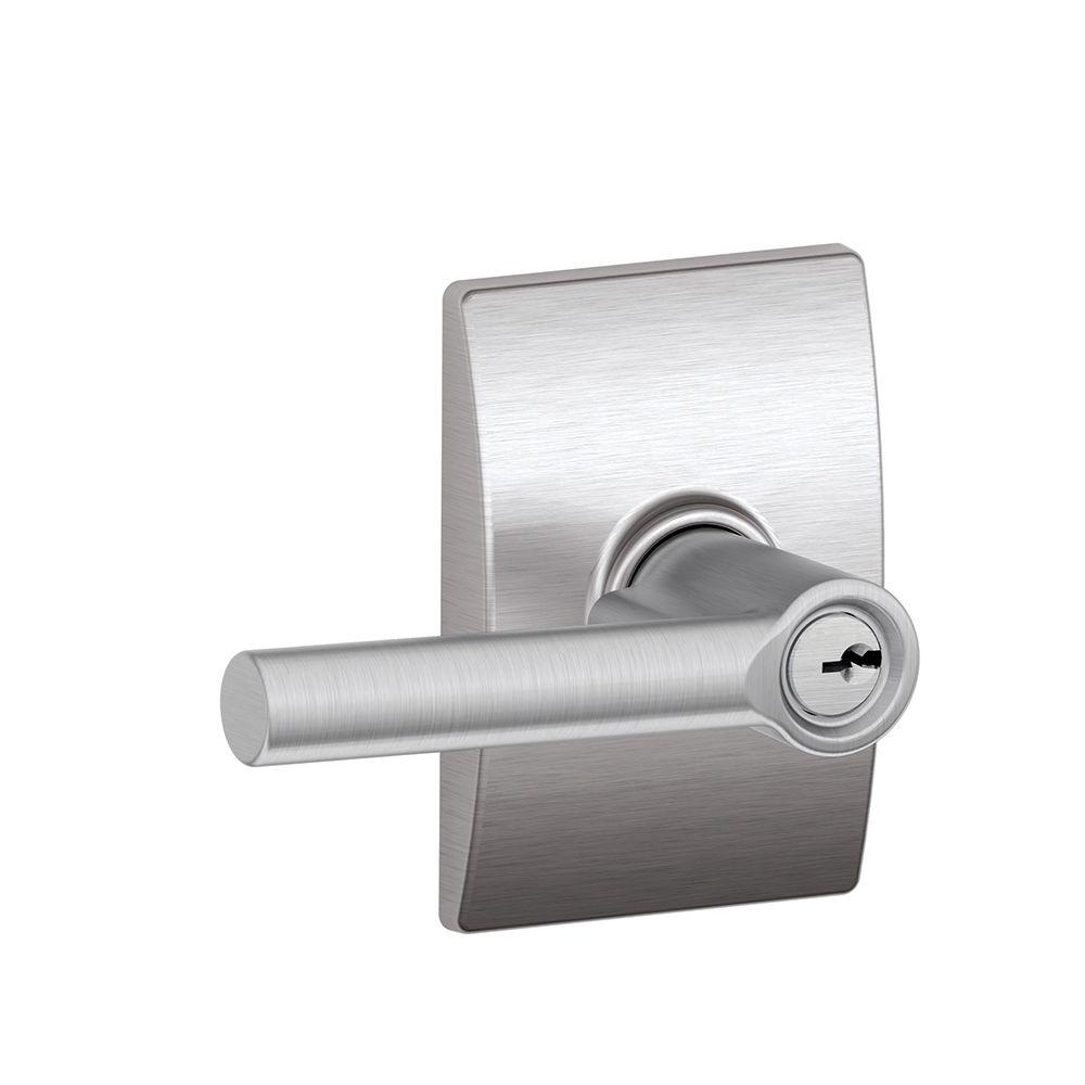 Century Collection Satin Chrome Broadway Keyed Entry Lever