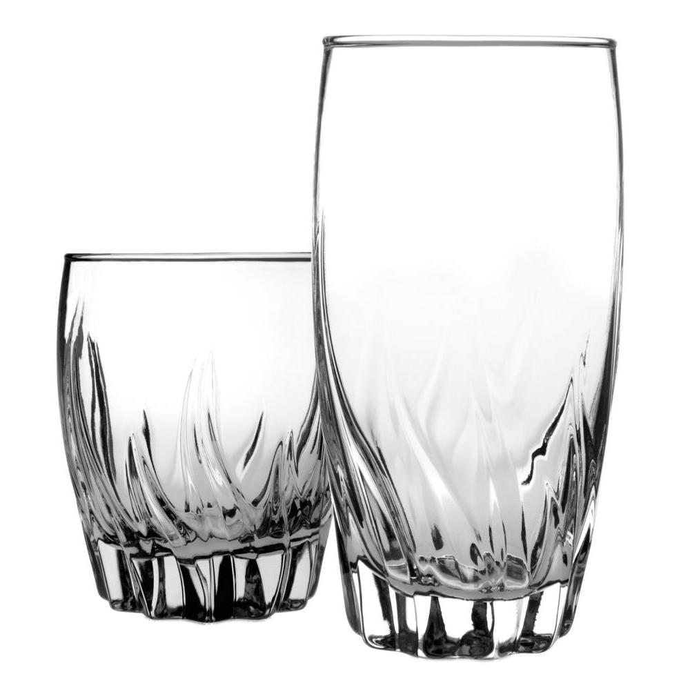 Anchor Hocking Central Park 12 oz. and 17 oz. Rock and Tumbler Glasses in Clear (Set of 8 Each) This 16-piece Clear Glass Set contains: eight 12 oz. Rocks and eight 17 oz. Tumblers. The beautiful design of these glasses resembles crystal. The durability of this glass will definitely stand up to the test of everyday use, without the threat of chipping.