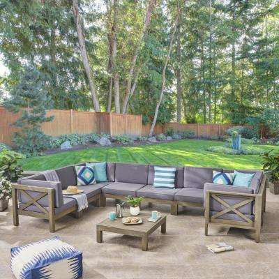 Hadlee Gray 9-Piece Wood Outdoor Sectional Set with Dark Gray Cushions