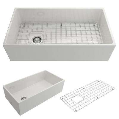 Contempo Farmhouse Apron Front Fireclay 36 in. Single Bowl Kitchen Sink with Bottom Grid and Strainer in White