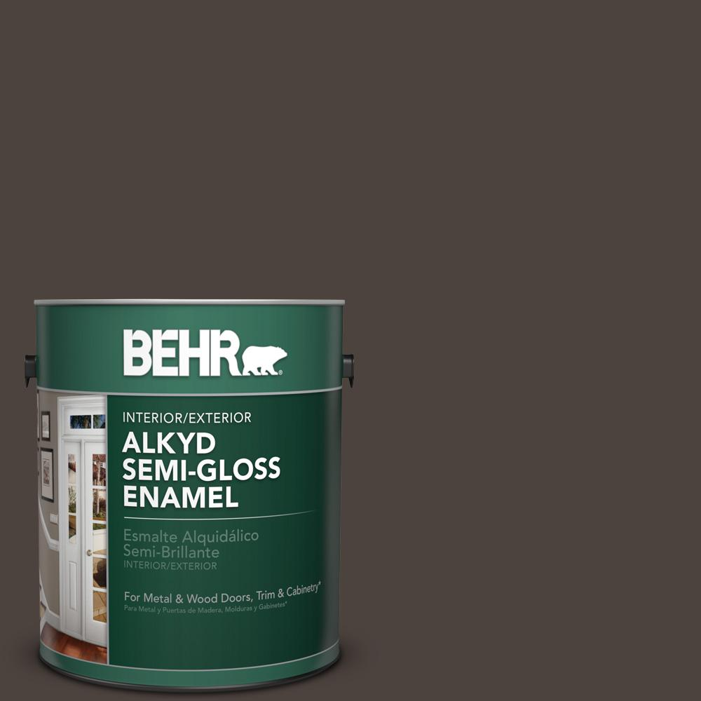 1 gal. #N110-7 Black Garnet Semi-Gloss Enamel Alkyd Interior/Exterior Paint