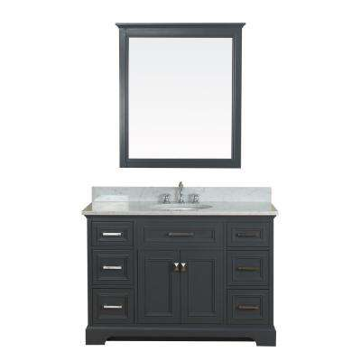 Yorkshire 49 in. W x 22 in. D Vanity in Gray with Marble Vanity Top in White with White Basin and Mirror