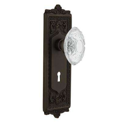 Egg and Dart Plate Interior Mortise Crystal Victorian Door Knob in Oil-Rubbed Bronze