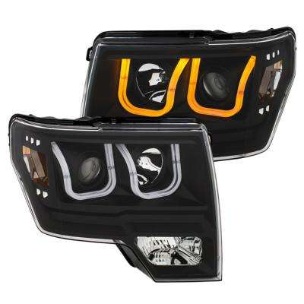 2009-2014 Ford F-150 Projector Headlights w/ U-Bar Switchback Black w/ Amber