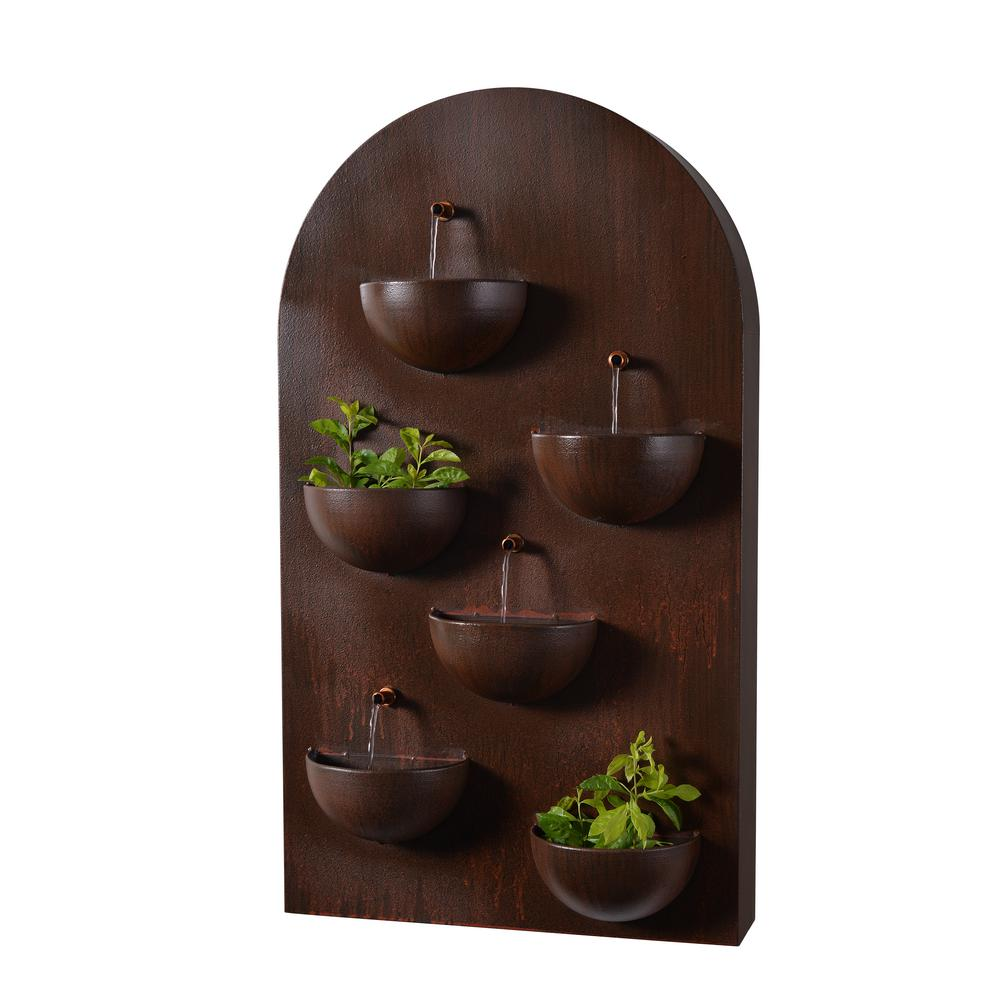 Kenroy Home Silva 31 in. Steel Wall Fountain with Planters