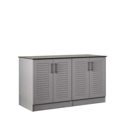 Key West 59.5 in. Outdoor Cabinets with Countertop 4 Full Height Doors in Gray