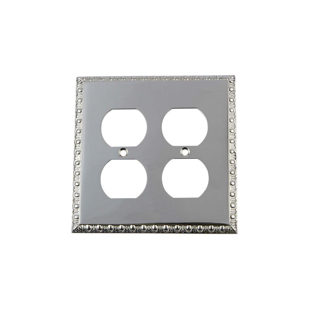Egg and Dart Switch Plate with Double Outlet in Bright Chrome